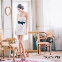 東京衣服 義大利風情款 小V蝴蝶結腰帶 露背綁帶澎裙歐美洋裝小禮服