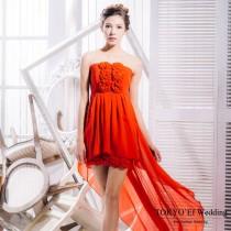東京衣服 魅惑花漾 平口雪紡玫瑰 前短後長小禮服