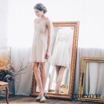 東京衣服 高雅甜心 單肩花朵網紗歐美高腰蓬裙洋裝小禮服